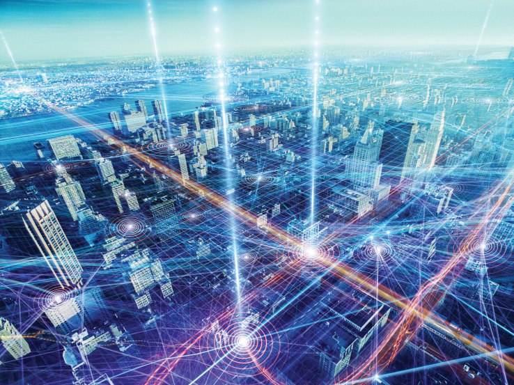 Interconnected data flows and downloading streams superimposed over a virtual electronic gridscape of New York City